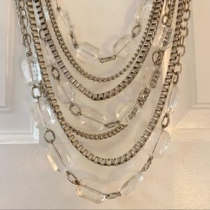 Multi-tiered silver statement necklace